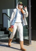 Gigi Hadid keeps it cozy yet trendy in white sweats and UGG boots as she leaves Spring Studio's Event venue in New York City