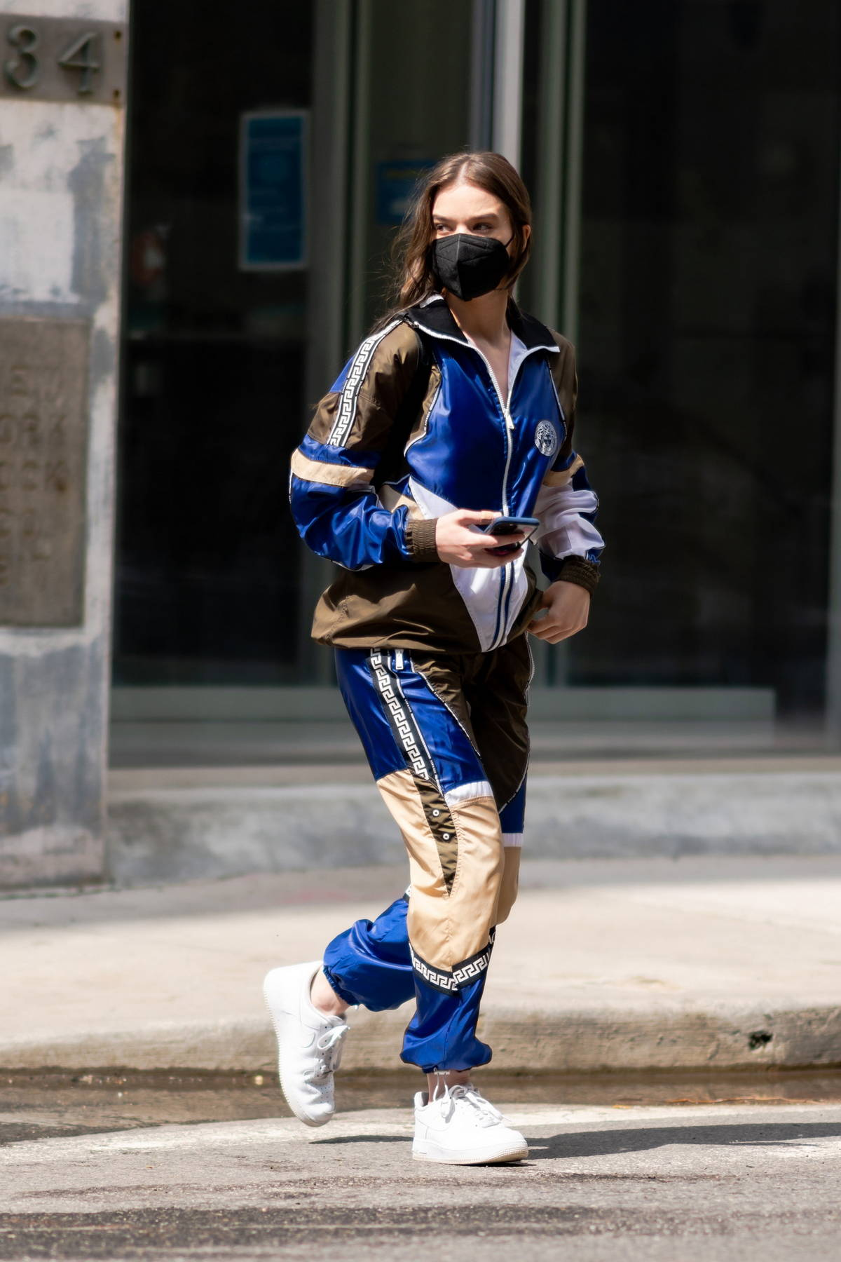 Hailee Steinfeld looks stylish in a Versace tracksuit as she steps out in New York City