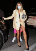 Hailey and Justin Bieber seen leaving after dinner with friends at San Vicente Bungalows in West Hollywood, California