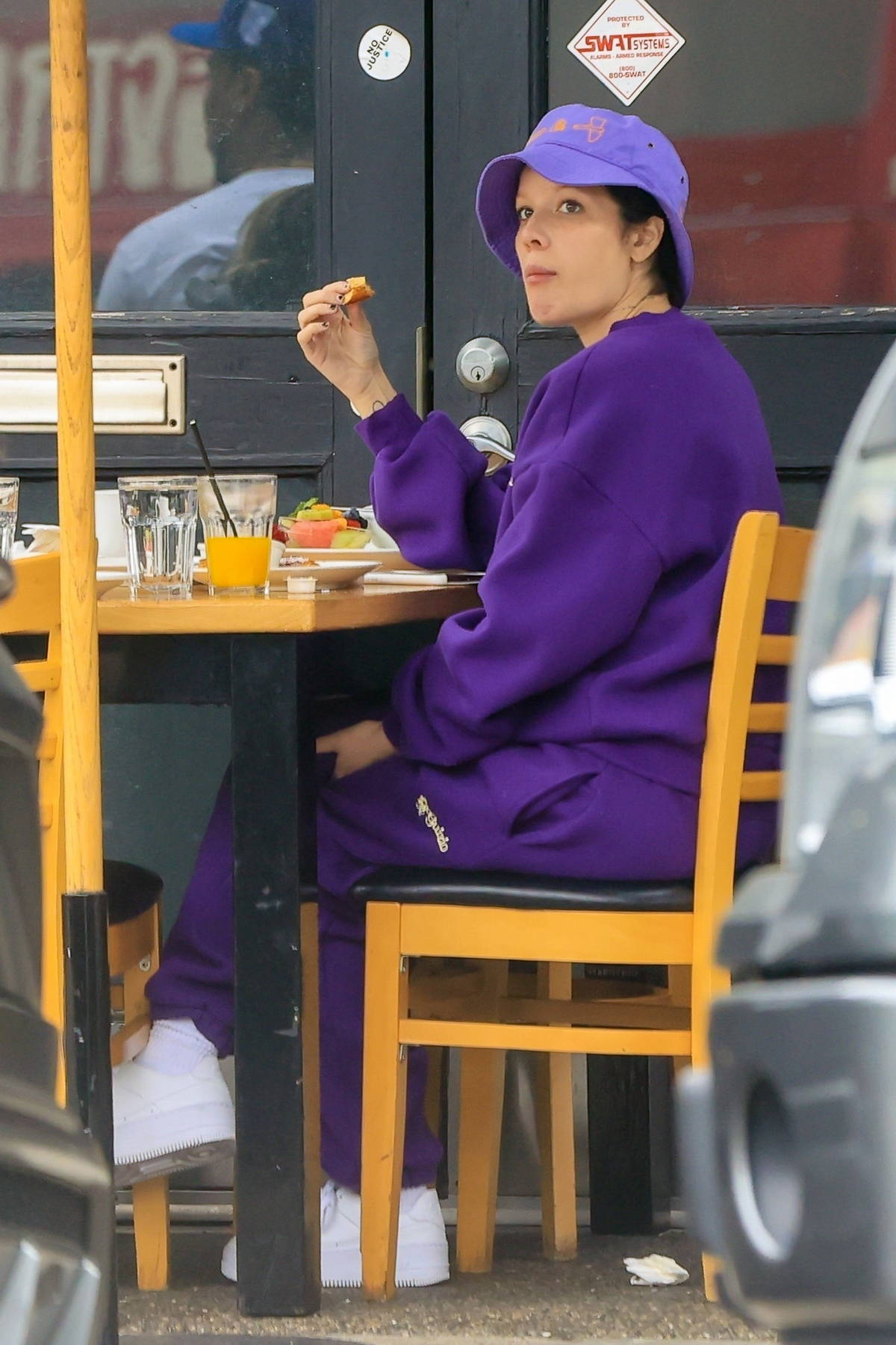 Halsey seen while enjoying some breakfast with boyfriend Alev Aydin at Toast in West Hollywood, California