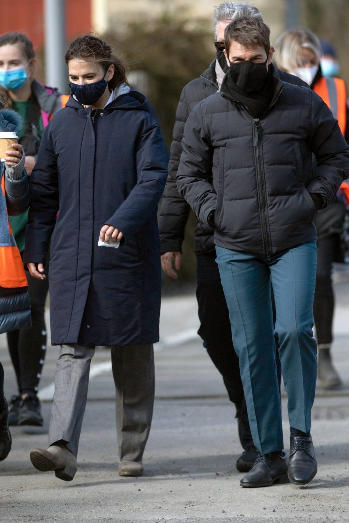 Hayley Atwell and Tom Cruise seen wearing protective face masks on set as they film 'Mission Impossible 7' in Yorkshire, UK