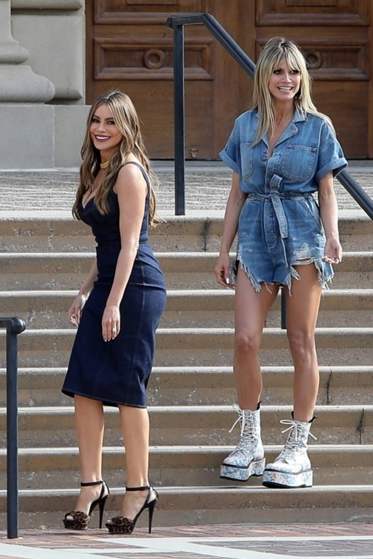 Heidi Klum and Sofia Vergara spotted while filming a KIA commercial for America's Got Talent in Pasadena, California