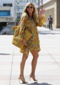Heidi Klum looks radiant in floral print summer dress as she arrives at America's Got Talent taping in Los Angeles