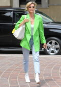 Heidi Klum looks stylish in a bright green blazer as she arrives at a taping of America's Got Talent in Los Angeles