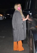 Hilary Duff wears grey overcoat as she steps out for date night with Matthew Koma in Beverly Hills, California