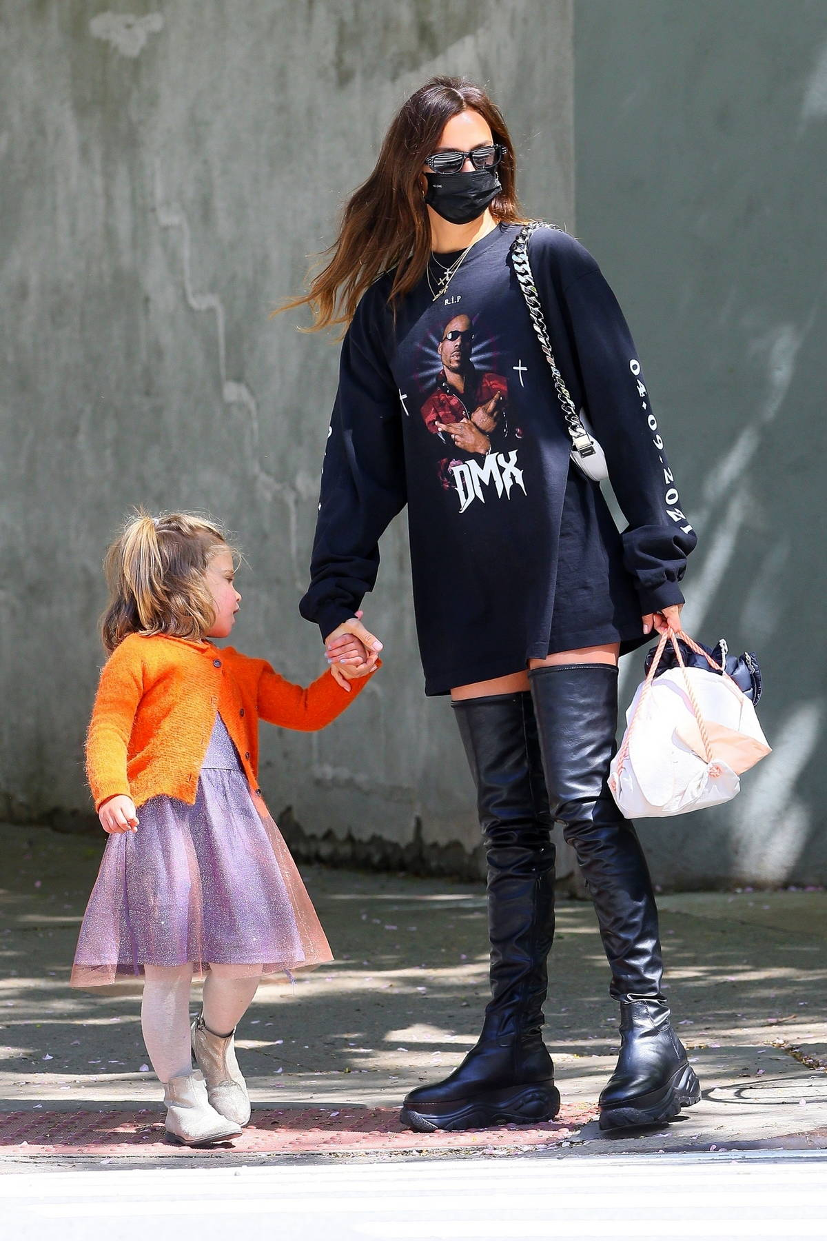 irina shayk dons an oversized 'dmx' sweatshirt and a pair of knee-high  boots while stepping out with her daughter in new york city-260421_12