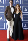 Isla Fisher and Sacha Baron Cohen attend a screening of the Oscars 2021 in Sydney, Australia