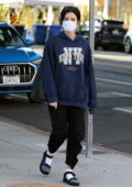 Jaimie Alexander stays comfy in a hoodie and sweatpants while out for a walk with a friend in Santa Monica, California