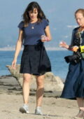 Jennifer Garner seen wearing a blue top and short black skirt during a photoshoot on the beach in Santa Barbara, California