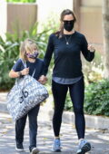 Jennifer Garner sports all-black athleisure as she takes her dog to the dog park with her kids in Brentwood, California