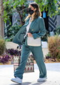 Jessica Alba looks chic in a turquoise suit as she arrives at the Honest Company headquarters in Playa Vista, California