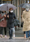 Jessica Chastain steps out in the rain with her husband Gian Luca Passi in New York City