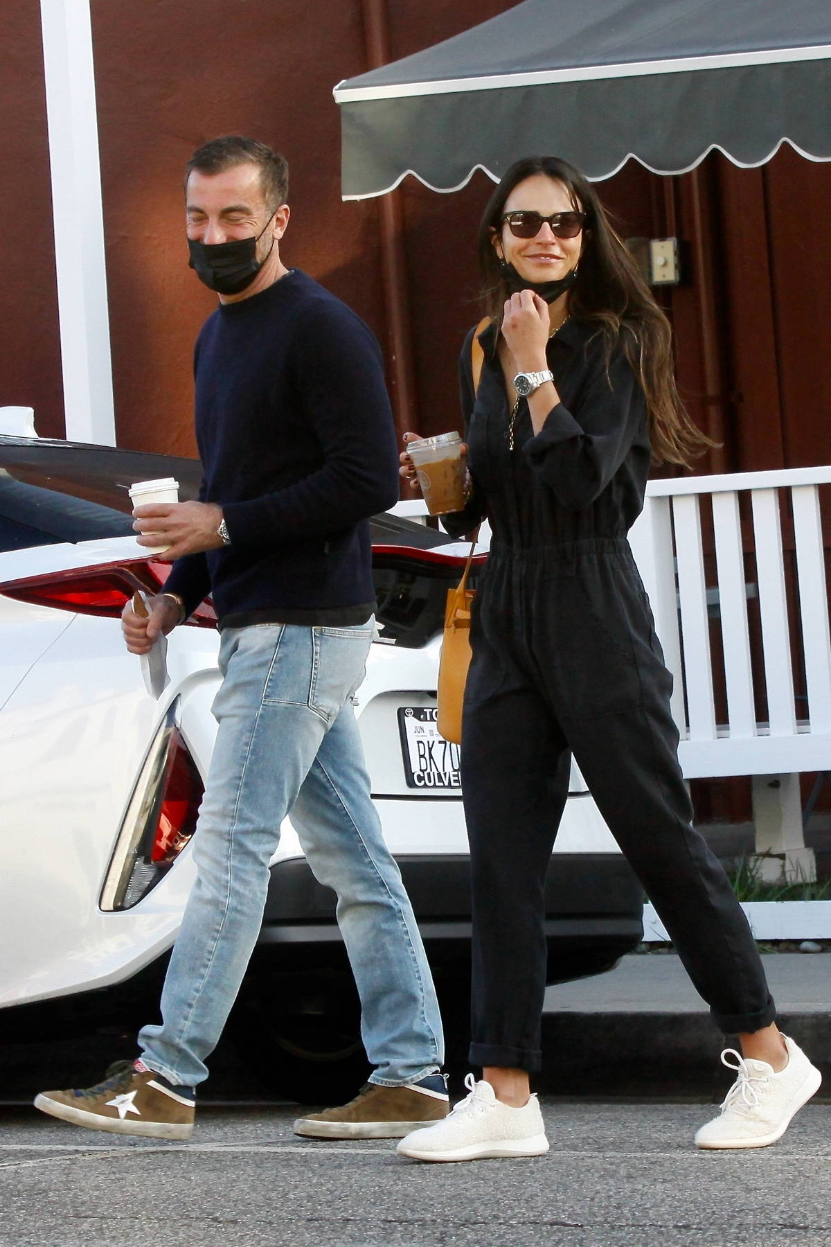 Jordana Brewster and boyfriend Mason Morfit step for some coffee at Caffe Luxxe in Brentwood, California