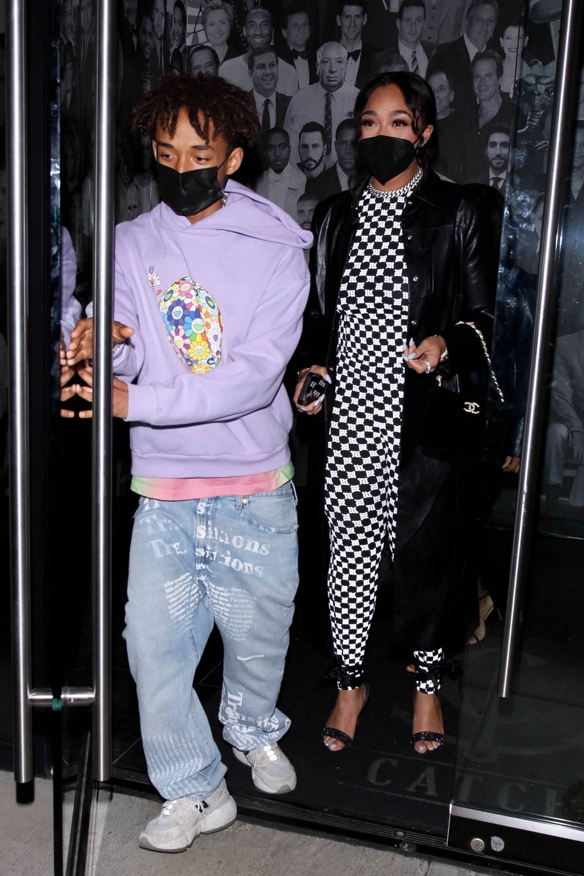 Jordyn Woods steps out to dinner with Jaden Smith at Catch LA in West Hollywood, California
