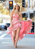 Joy Corrigan looks stunning in a pink dress during a photoshoot in Beverly Hills, California
