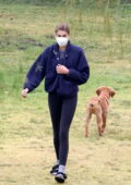 Kaia Gerber and Jacob Elordi seen out playing with their puppies at a park in Hollywood, California