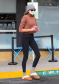 Kaia Gerber attends her morning Pilates class before grabbing a post-workout smoothie in West Hollywood, California