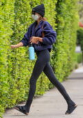Kaia Gerber shows off her mile-long legs in black leggings while heading to a Pilates class in West Hollywood, California