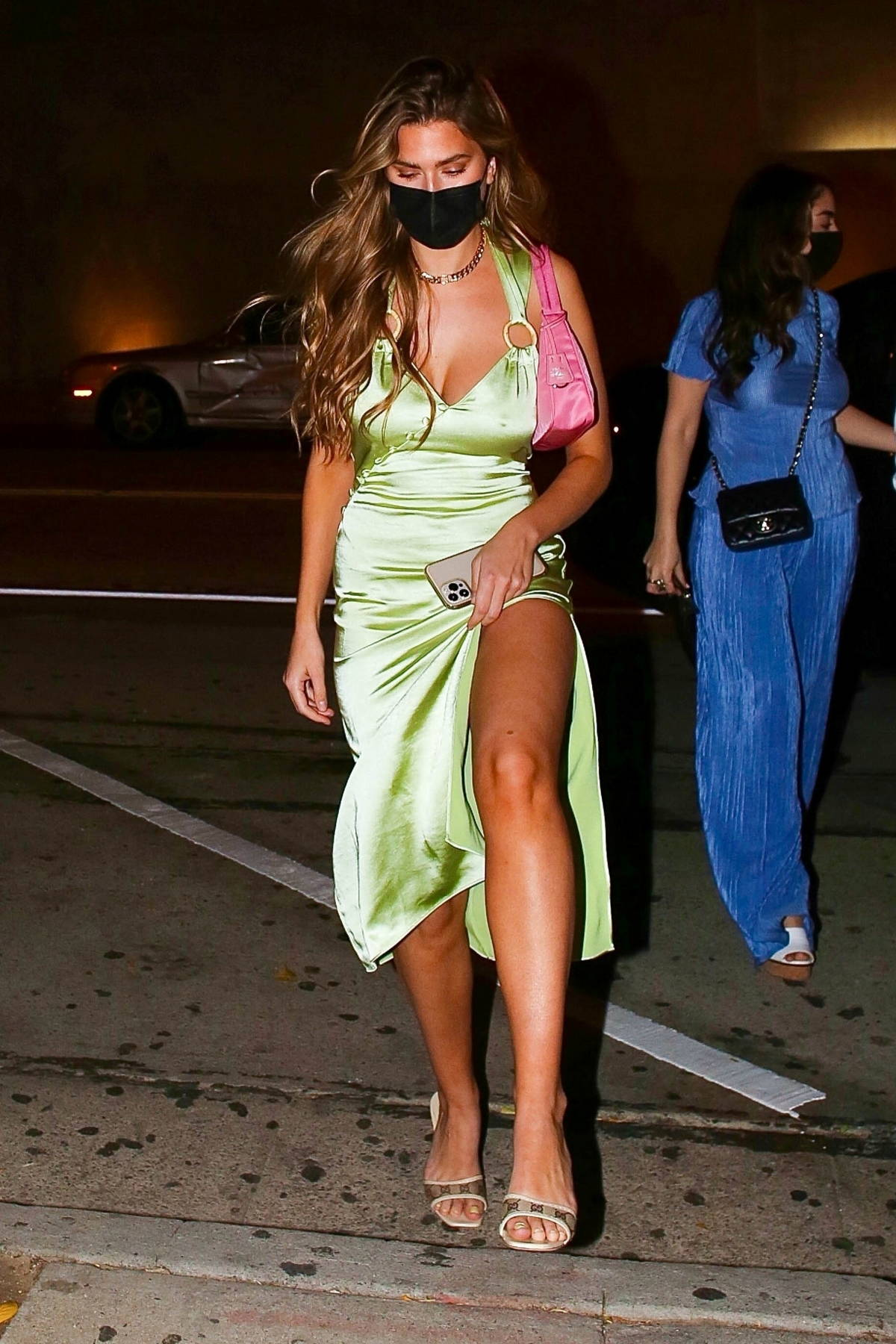 Kara Del Toro wears a green silk gown as she steps out for a late dinner at Craig's in West Hollywood, California