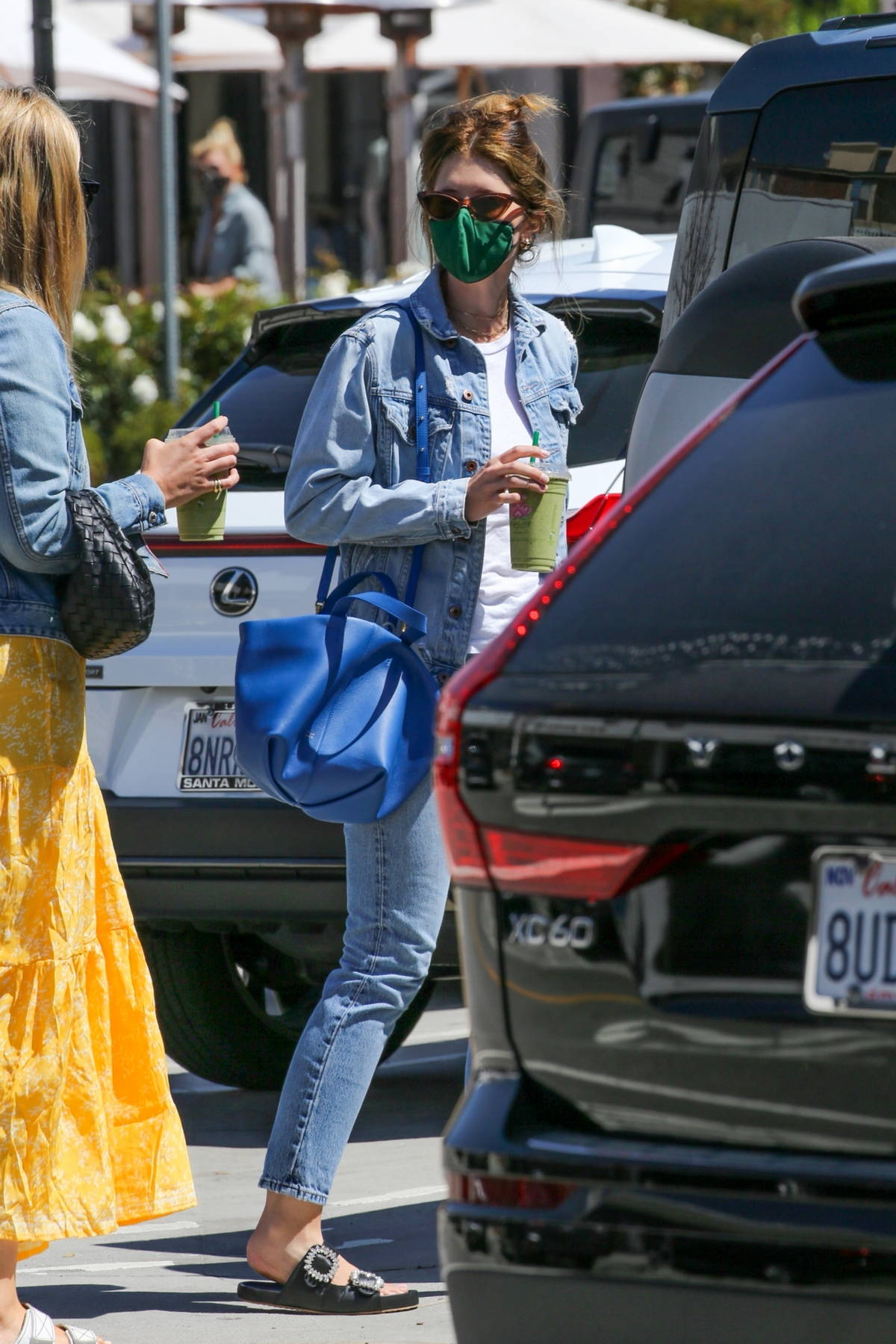 Katherine Schwarzenegger keeps it casual in double denim while out shopping with a friend in Pacific Palisades, California