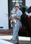 Katy Perry looks cute as she steps out with her daughter Daisy Dove wearing matching hats in Montecito, California