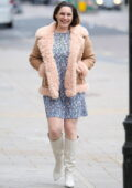 Kelly Brook looks lovely in floral print dress and fur-trimmed jacket while leaving Global Radio Studios in London, UK