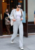 Kendall Jenner keeps it casual chic in all-grey hoodie and sweatpants while checking out of The Greenwich Hotel in New York City