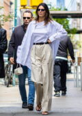 Kendall Jenner wears a pair of beige pleated pants and a crispy white shirt for brunch with friends in New York City