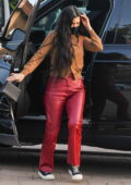Kourtney Kardashian steps out wearing red leather pants as she grabs dinner with friends at Nobu in Malibu, California