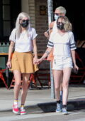 Kristen Stewart flaunts her slender legs in denim shorts while out for lunch with friends at Little Dom's in Los Angeles