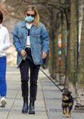 Lili Reinhart dons a blue denim jacket as she steps out to walk her pup in Vancouver, Canada