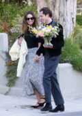 Lily James looks smitten as her new boyfriend Michael Shuman takes her to meet his parents in Los Angeles