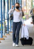 Lily-Rose Depp wears a skin-tight full-sleeve top and sweatpants as she leaves for the airport in New York City