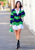 Megan Fox looks stunning in a Versace cardigan while leaving a friend's house in West Hollywood, California