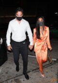 Nicole Scherzinger and Thom Evans step out holding hands during a date night at Craig's in West Hollywood, California