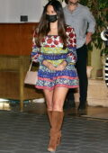 Olivia Munn looks amazing in a colorful floral print mini dress at the Sunset Towers in West Hollywood, California