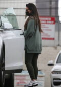 Olivia Munn seen leaving the gym wearing an oversized sweatshirt and leggings in West Hollywood, California