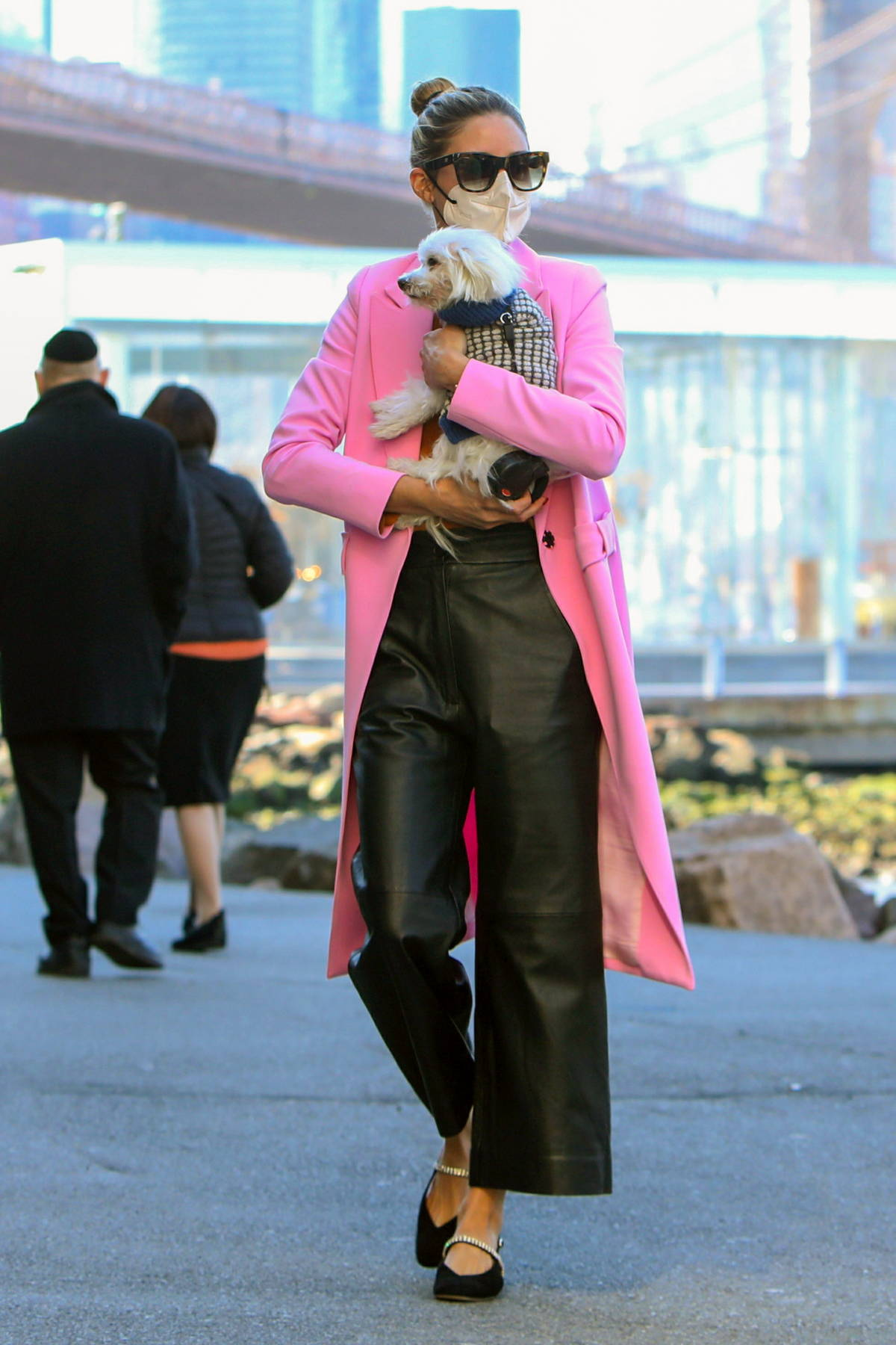 Olivia Palermo looks pretty in a pink coat while out on stroll with her pooch in New York City