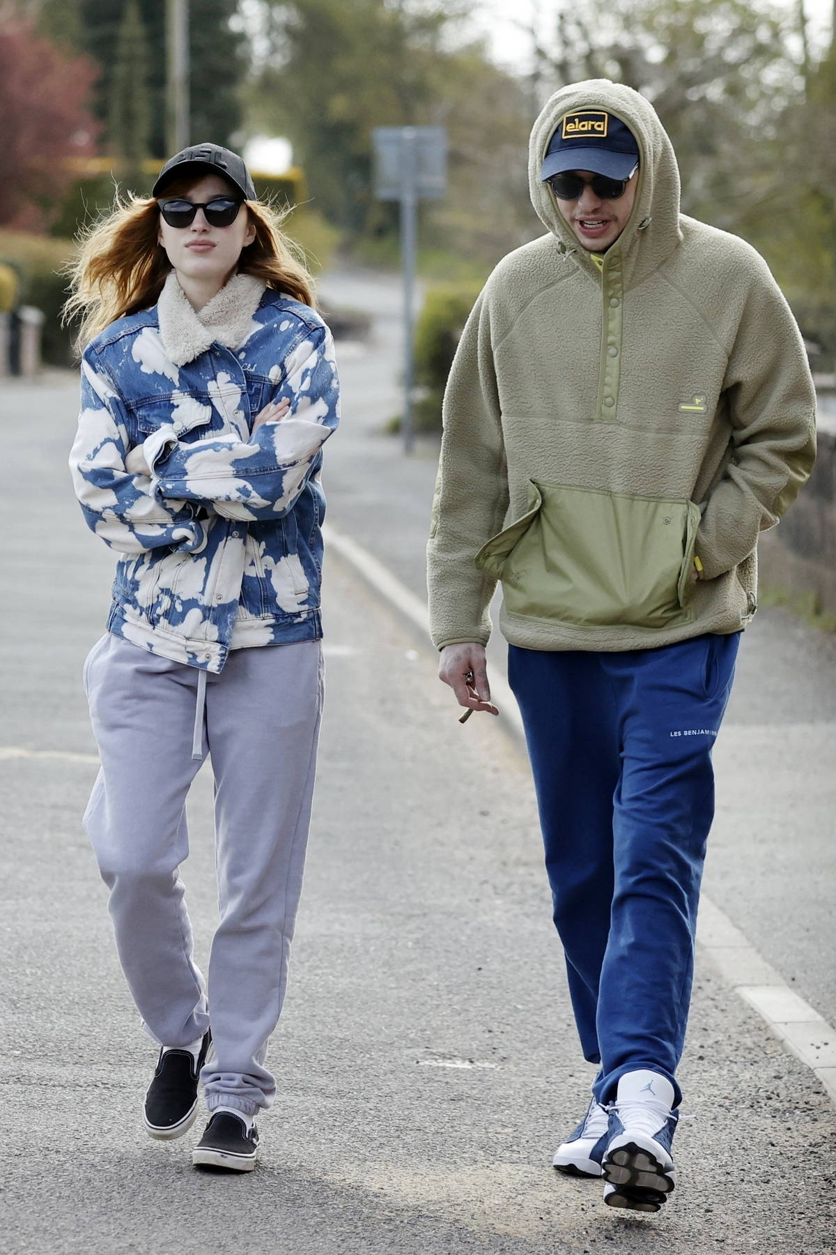 Phoebe Dynevor and Pete Davidson step out for the first time as a couple while enjoying a countryside stroll in Stoke-on-Trent, UK