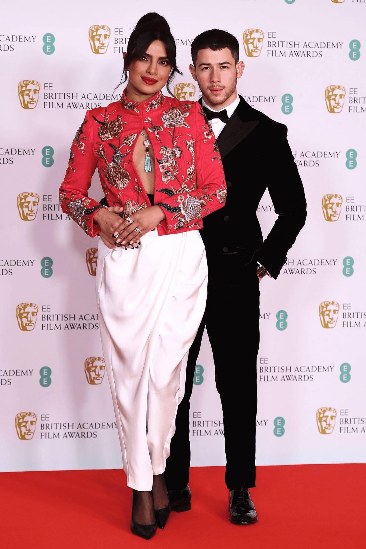 Priyanka Chopra and Nick Jonas attend the EE British Academy Film Awards 2021 at Royal Albert Hall in London, UK