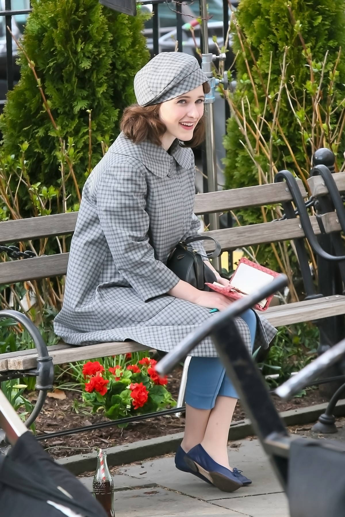 Rachel Brosnahan seen on set filming 'The Marvelous Mrs. Maisel' in New York City