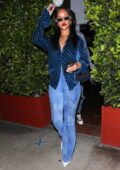 Rihanna looks chic in Gucci Blue while leaving a late-night dinner at Giorgio Baldi in Santa Monica, California