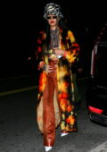 Rihanna spotted in a colorful ensemble as she steps out to a late night dinner at Giorgio Baldi in Santa Monica, California