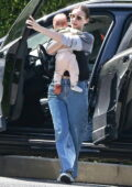 Rooney Mara arrives at her sister Kate's house with her baby son River in Los Angeles