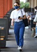 Rooney Mara matches her denim with a denim mask for a trip to the grocery store in Los Angeles