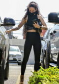 Rumer Willis sports a black crop top and leggings as she leaves a gym in West Hollywood, California