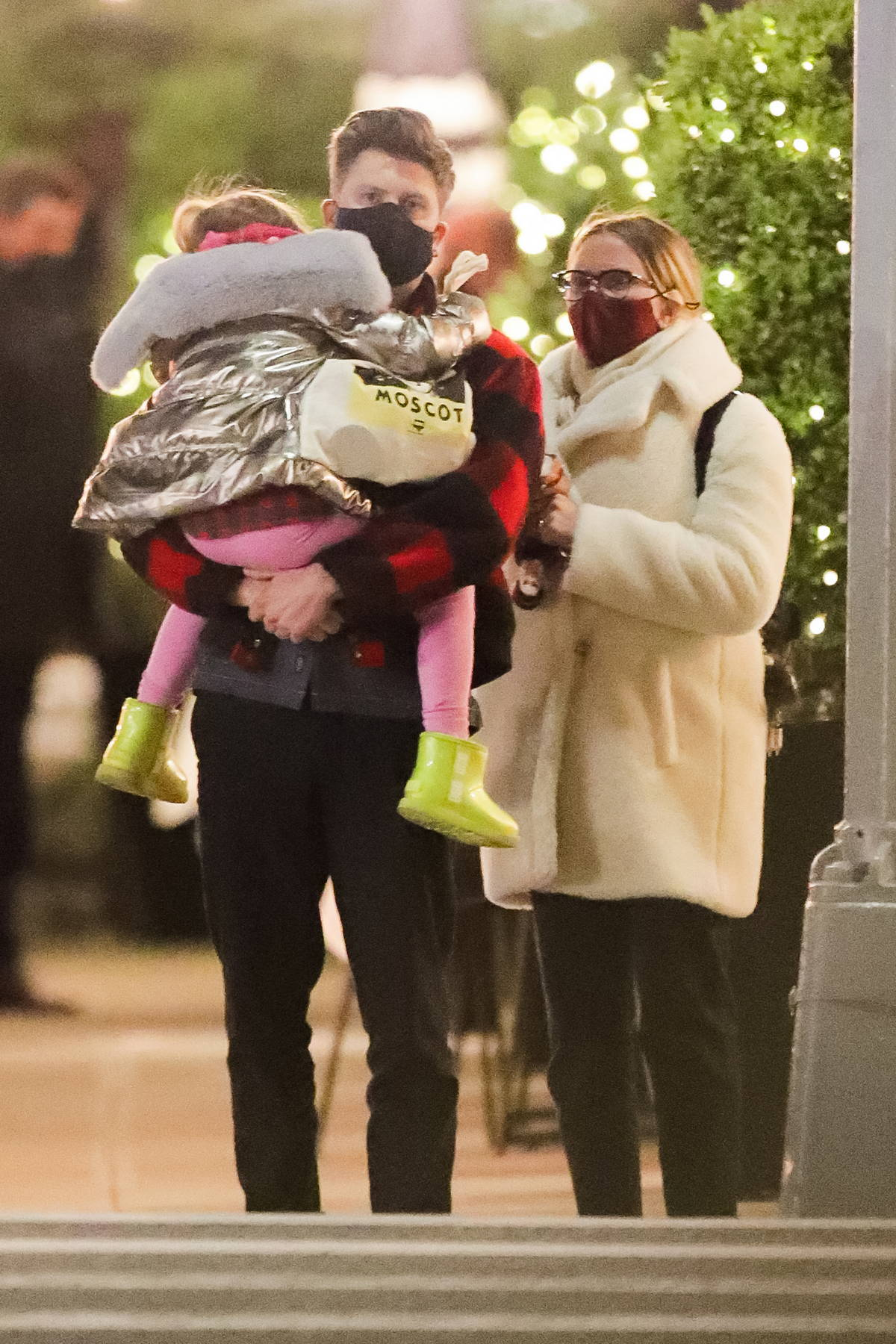 Scarlett Johansson seen out after dinner with husband Colin Jost and her daughter Rose in New York City