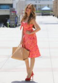 Sofia Vergara looks great in a floral print orange dress while arriving at America's Got Talent taping in Los Angeles