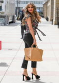Sofia Vergara wears a floral print blouse and jeans as she arrives at the taping of America's Got Talent in Los Angeles