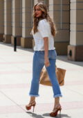 Sofia Vergara wears a knitted top and jeans while arriving at a taping of America's Got Talent in Los Angeles